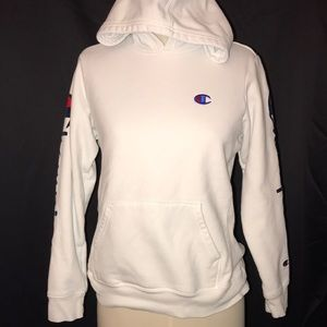 CHAMPION Women's Pullover Hoodie Sz L Script Logo